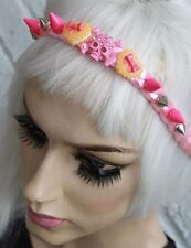 Pink plait Rose Spike Stud Clous front head band pastel goth Indie decoden