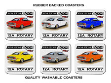 MAZDA RX4  COUPE  12A  RE  ROTARY ENGINE        SET OF 6 RUBBER DRINK  COASTERS