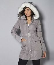 New Ladies Womens Lipsy London Long Line Belted Puffa Jacket Grey UK 8 EU 34