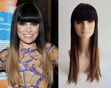 DELUXE JESSIE J TWO TONE LONG DIP DYE BLACK BLONDE STRAIGHT HEAT RESISTANT WIG