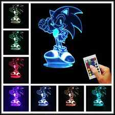 Classic Game ! New 3D USB Sonic the Hedgehog LED Night Light Color Changing Lamp