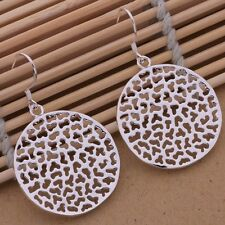 Ladies / Women 925 Sterling Silver Round Disc Cut Out Retro Drop Earrings Gift