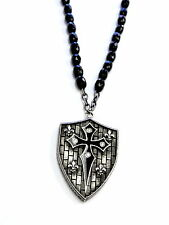 Men's Silver Shield Rosary Style Necklace With White Diamonds by Sacred Angels