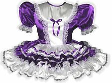 """Nichole"" Custom Fit PURPLE & White SATIN Adult LG Baby Sissy Dress LEANNE"