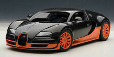 1:18 Autoart BUGATTI VEYRON EB16.4 SUPER SPORT EDT. CARBON BLACK/ORANGE+Vitrine