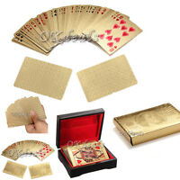 24K Gold Foil Plated Poker playing cards Deck Collection Box EURO Dollar Choose