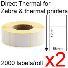 x2 Direct thermal labels rolls 56x25mm 2000/roll for Zebra & thermal printer