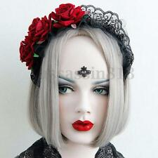 Handmade Gothic Womens Lace Black Red Rose Flower Cosplay Headband Hair band