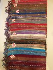 WHOLESALE JOBLOT 12 Pcs STRIPES KNITTED SCARVE PASHMINA NEW ARRIVAL GLITTER