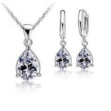 Fashion CZ Waterdrop Necklace And Earrings Jewelry Set 18 Inches Necklace Chains