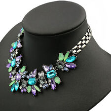 Women's Jewelery Rhinestone Flower Cluster Bib Choker Pendant Necklace Gift New