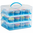 VonShef 3 Tier Blue Cupcake Holder and Cake Storage Carrier Box Container