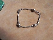 Sterling Silver .925 Tube & Round Beads link Bracelet Taxco Mexico