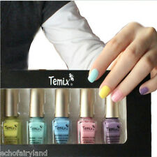 5Pcs/set 6ml Fast Dry Yellow Pink Purple Blue Nail Art Polish Varnish Manicure