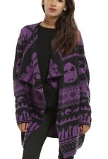 Disney The Nightmare Before Christmas Purple Fair Isle Cardigan Size Large NWT!