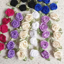 """100 Satin Ribbon Rose 1"""" Flower Leaves Trim Sewing  Dress Bow Craft Mix 8 Color"""