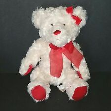 Dan Dee White Teddy Bear 11in Soft Fuzzy Plush Red Paw Pads Nose Bows 2009