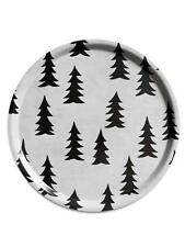 Scandinavian Swedish Wooden Round 38cm Serving Tray - Gran Black & White
