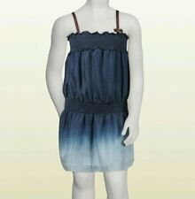 NWT NEW Gucci girls blue denim ombre sleeveless dress web ribbon straps 6y