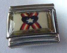 USA Ribbon w/ HEART Italian Charm - fits ALL 9mm Starter Bracelets America Flag