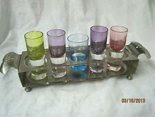 Vintage steel Farberware Brooklyn NY shot glass holder stamped floral pattern