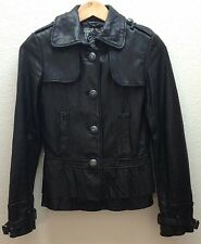 Ladies Womens Black BLK GUESS Soft Leather Jacket Tapered Waist Ruffle FREE SHPG