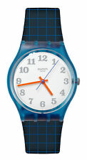 Swatch GS149 Back To School White Dial Grey Blue Silicone Band Women Watch New