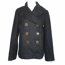J. CREW Charcoal Gray Wool Peacoat Jacket Button Front Military Coat Small