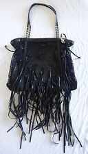 ~ AUTHENTIC CHANEL BLACK CROCHET BAG / TOTE W/ LEATHER FRINGE & CC'S (CURRENT!)