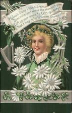 St. Patrick's Day - Beautiful Blond Woman MY IRISH DAISY Poem c1910 Postcard