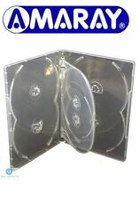 25 x 6 Way Clear DVD 15mm Spine Holds 6 Discs Empty New Replacement Case Amaray
