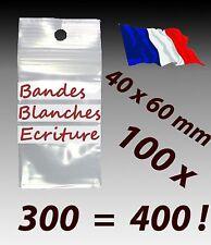 LOT 100  sachets  plastique zip 3 bandes blanches d'écriture 40x60 4x6        f