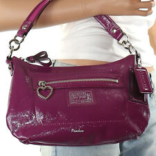 New Coach Poppy Daisy Patent Leather Shoulder Hand Bag Crossbody Berry New RARE