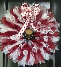 Christmas Wreath Candy Cane Maroon And White Deco Mesh Large