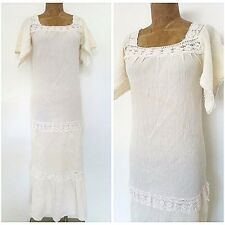 Vintage 60s BOHO Wedding Dress Size Small Festival Crochet Lace Hippie Costume