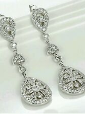 'beeLa' Luxury Silver CZ Earrings Vintage Art Deco Chandelier Filigree Bridal