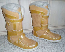 TIMBERLAND Genuine Suede Leather Triple Strap Fur Trim Warm Boots~Gold~Size 10 M