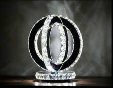 Modern Shining Two Round LED Crystal table Lamp Diamond Ring Desk Lighting