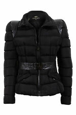 Ladies Quilted Padded Black Bomber Belted Zip Winter Jacket Women's Coat 8-14
