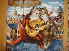 1Tapestry Pillow cases Author's Russian Painting Funny Postcard Cats Rumyantsev