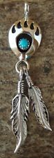 Native American Jewelry Handmade Sterling Silver Turquoise Bear Paw Pendant!