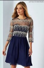 Lipsy Little Mistress Blue Embroidered Lace Dress Size 8 Bnwt