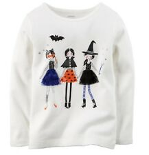 Carter's Ivory Long Sleeve Halloween Tee Size 2T Girls Fall Witch Cat Carters