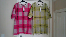 F&F - 2 X BRUSHED YARN CHECK JUMPER DRESS/TUNICS - SZ 10 - BNWT.