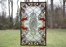 "21""W x 35.5""H Tiffany Style Beveled stained glass window panel."