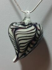 Murano Glass Black White Heart Pendant on 925Sterling Silver Necklace #Valentine