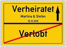 Ortsschild - Verlobt - Verheiratet - Geschenk - Hochzeit - Dekoration - Bild NEU