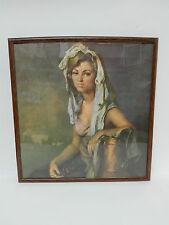 Antiguo Cuadro Litografia Mujer de la Epoca Enmarcado y Cristal protector.