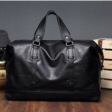 Leisure Black Handbag Travel Gym Men Leather Large Weekend PU Leather Bag