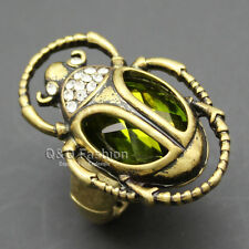 Cleopatra Retro Gold Egyptian khepri Scarab Beetle Emerald Gemstone Finger Ring